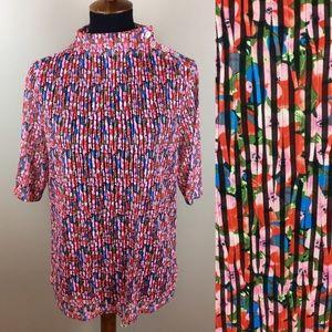 Eva Franco floral semi sheer high neck blouse Lrg